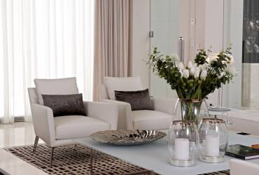 02 - Taylor Interiors Luxury modern living room armchairs and glass coffee table Marbella