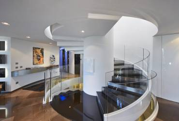 Exquisite villa.  Contemporary glass stairs.