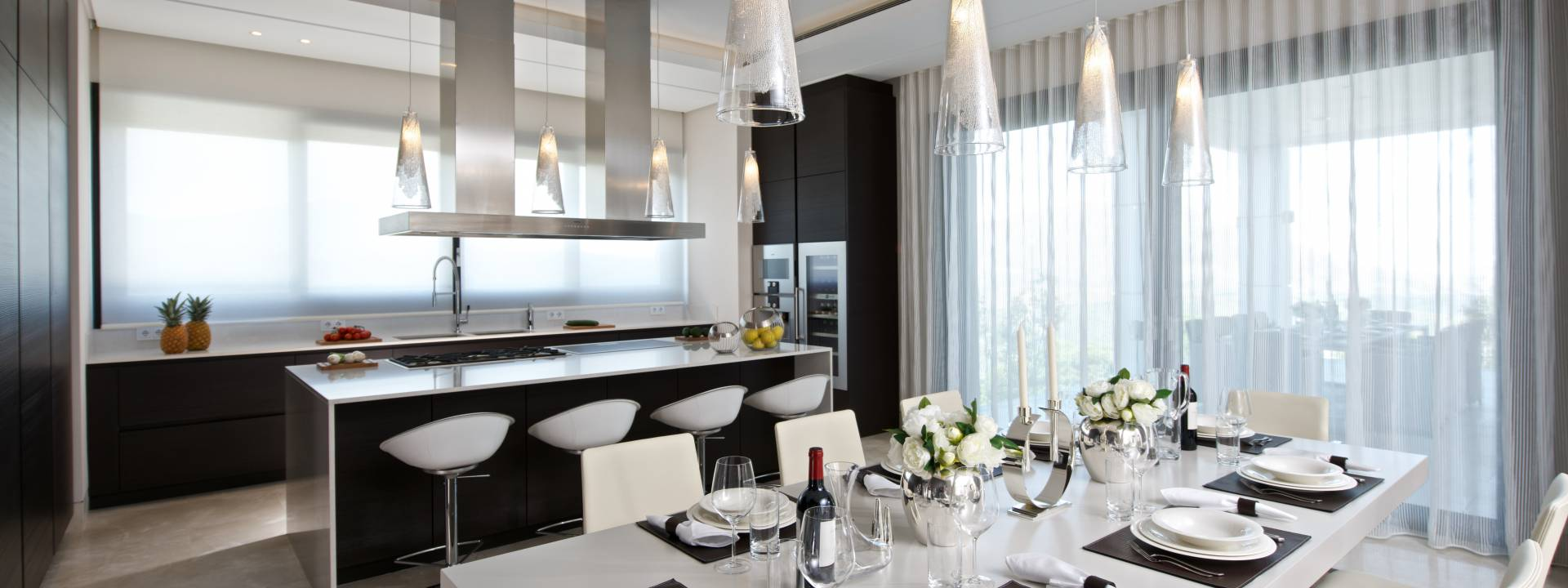 Modern Holiday Villa. Exclusive luxurious kitchen. Taylor interiors.