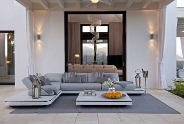 Contemporary Holiday Villa. Stunning  garden furniture. Taylor interiors.