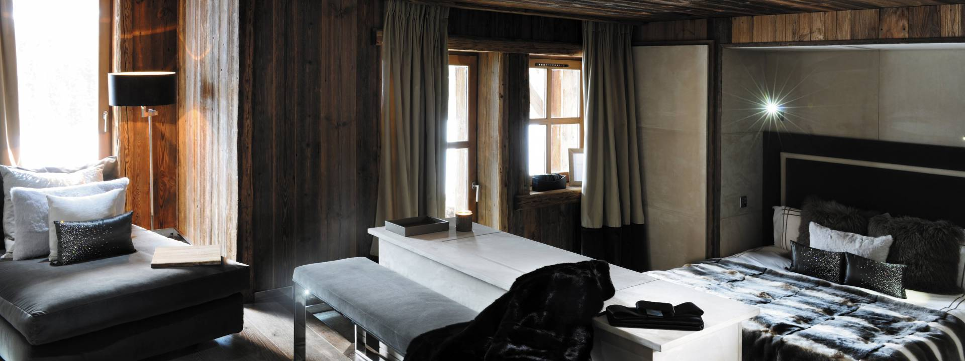 Luxury Winter Chalet, Bedroom, Switzerland